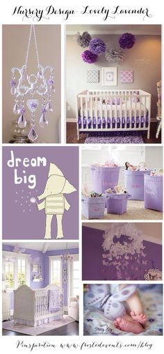 Share Tweet + 1 Mail Inspiration Board Sources Chandelier (top left)- Luxury Baby Nursery Purple and gray nursery design (top right)- Dream big elephant ...