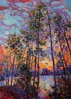 Lake Woodlands Greeting Card featuring the painting Woodland Rythms by Erin…