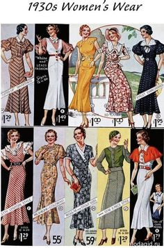 1930s Women's Wear dress day floral long skirt novelty print pattern casual green black yellow red white