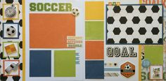 This page kit comes with everything pre-cut and ready to glue. All you have to do is follow the color picture inside Kit Double Page 12x12 Layout. This page kit titled Soccer created by Karen Petersen