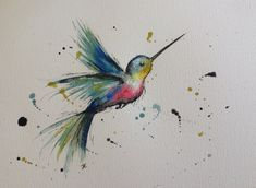 Hummingbird mixed media painting