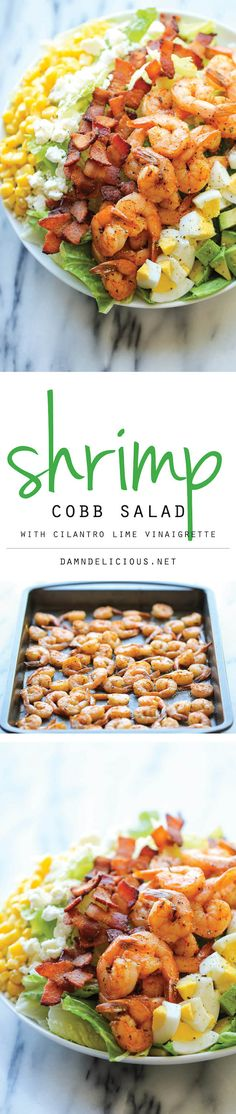 Shrimp Cobb Salad with Cilantro Lime Vinaigrette -- Could make this work with Whole30 by skipping the corn and goat cheese. And I guess I'll make my husband happy by including the egg (even though I hate them).
