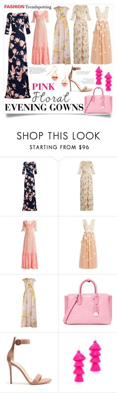 """""""Fashion Trendspotting - Pink Floral Evening Gowns"""" by bonnielindsay ❤ liked on Polyvore featuring Erdem, Vilshenko, The Vampire's Wife, HUISHAN ZHANG, Giambattista Valli, MCM, Gianvito Rossi, Misa and Aurélie Bidermann"""