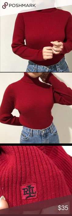 Ralph Lauren ribbed turtleneck sweater Long sleeve ribbed Polo Ralph Lauren turtle neck sweater, has embroidered symbol at the collar, super cute and simple for everyday outfit. Looks great tucked in highwaisted jeans. Size medium Ralph Lauren Sweaters Cowl & Turtlenecks