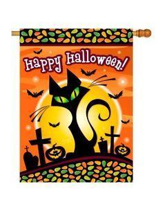 """Halloween Black Cat Indoor/ Outdoor Sublimation Flag 28"""" X 40"""" 12050 . $21.99"""