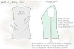 How To Correct Armhole Balance so the bodice fits our bust correctly without wrinkle lines or pulling.
