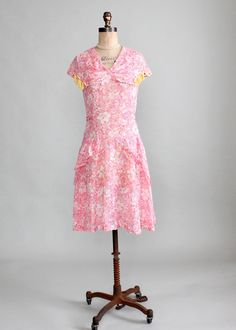 Vintage Early 1930s Bright Floral Cotton Day Dress | Raleigh Vintage