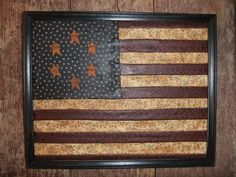 Primitive Americana Framed Flag that would be a nice decoration Americana Crafts, Patriotic Crafts, Country Crafts, July Crafts, Patriotic Decorations, Primitive Crafts, Country Primitive, Country Decor, Americana Kitchen