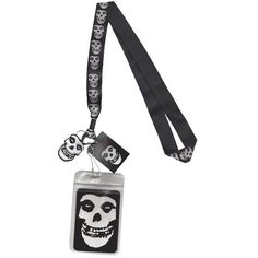 Misfits Band Skull Lanyard Keychain ID Holder With Glow In The Dark Charm #CANDD