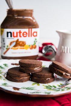 Nutella Sandwich, Sandwich Cookies, Cookie House, Homemade Chocolate, No Bake Cookies, Chocolate Cookies, Cookie Bars, Sandwiches, Sweet Treats