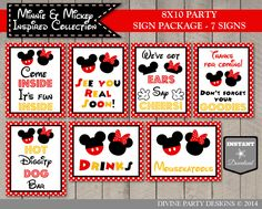 The Girl and Boy Classic Mouse 8x10 Party Sign Package has all of the party signs that you need at an affordable price.  COMPLETE YOUR PARTY WITH THESE COORDINATING ITEMS: https://www.etsy.com/shop/DivinePartyDesign/search?search_query=GIRL+AND+BOY+MOUSE&order=date_desc&view_type=gallery&ref=shop_search  -------------------------------- INCLUDED ITEMS  1. 8x10 Come Inside, Its Fun Inside Sign 2. 8x10 Hot Diggity Dog Bar Sign Sign 3. 8x1...