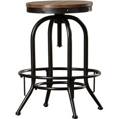 Outfit your home bar or kitchen island in rustic style with this lovely barstool, showcasing a swivel design and crafted from metal and wood.
