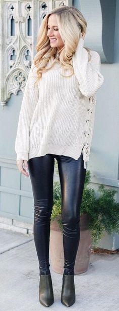 #winter #fashion /  Cream Knit + Leather Pants