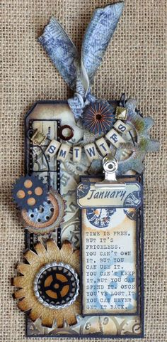 A STROLL DOWN MEMORY LANE: 12 Tags of 2013 - (January) Tim Holtz Card Tags, Gift Tags, Arts And Crafts, Paper Crafts, Handmade Tags, Paper Tags, Vintage Tags, Artist Trading Cards, Mix Media
