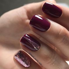 Beautiful nails, Burgundy nails ideas, Evening nails, Fall nails 2017, Fashion autumn nails, Fashion seasonal nails, Glitter nails, Ideas of plain nails