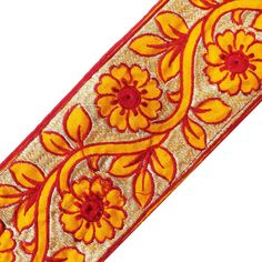 3 Wide Floral Embroidered Trim Supplies by Indianbeautifulart