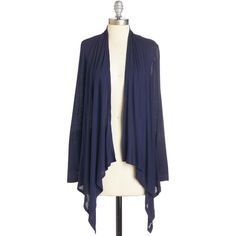 Mid-length Long Sleeve So Very Classic Cardigan (28 CAD) ❤ liked on Polyvore featuring tops, cardigans, blue, apparel, knit top, long sleeve knit, long sleeve layering tops, drape front cardigan, long sleeve cardigan and drape front top