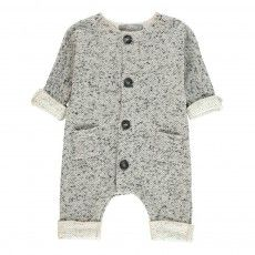 Pablo Jacquard Button-up Playsuit Light grey