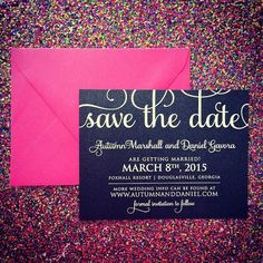 Calligraphy Save the Date, White Ink on Black Paper, Black and Pink Wedding, Glitter Wedding, Glitter Save the Date, Sparkly Wedding Inspiration, Kate Spade inspired Wedding, Modern Save the Date, Modern Wedding Paper, White Laser, Just Invite Me, This Way to Fabulous, Inc. Schaumburg, Illinois Wedding Invitations, http://justinviteme.com/products/adele-save-the-date-sample