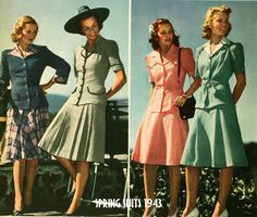 1940s Fashion – Spring College Suits for 1943 early vintage fashion era dress skirt jacket short sleeves pink green black white plaid hat purse shoes hair war swing color photo print ad