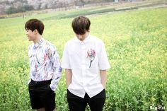 """BTS appeared in Gyeongju last April to take cover photos for their new album <In the Mood for Love>. It was their first time taking cover photo shooting outdoor. It was extra special because they took the shooting with a film camera. JIMIN&JUNG KOOK """"We are so excited to take a photo shoot outdoor!"""""""
