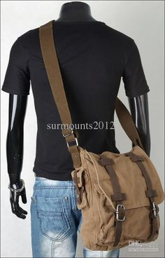 Wholesale Newest Military Vintage Men's Canvas Leather Laptop Satchel Messenger Shoulder Bags, Free shipping, $92.65-106.2/Piece | DHgate