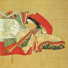 A ukiyo-e of a woman dressed in junihitoe