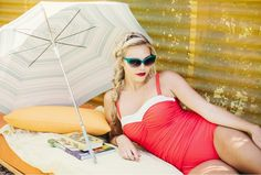 This is glam.  {Regina in Poppy} @thesaguarops  : @danagrantphoto #reyswimwear #whosaysithastobeitsybitsy #vintageswimsuit #vintageinspired #audreyhepburn #modestswimsuit #modestswimsuits #modestswimwear#maillot #onepieceswimsuit #1950s
