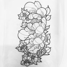 Working on this peony floral design at the Ft Worth Ink & Art Convention today . Working on this p Japanese Flower Tattoo, Japanese Tattoo Designs, Japanese Sleeve Tattoos, Flower Tattoo Designs, Flower Tattoos, Japanese Flowers, Tattoo Sketches, Tattoo Drawings, Tattoo Ink