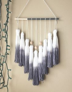 tassel mobile tassel garland yarn wall hanging dip dye wall