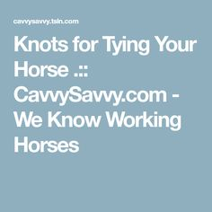 Knots for Tying Your Horse .:: CavvySavvy.com - We Know Working Horses