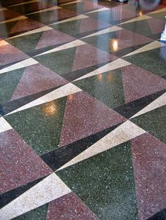 Art deco flooring pattern, Auburn Cord Duesenberg Museum by Paul McClure DC, . Terrazzo Flooring, Vinyl Flooring, Floor Patterns, Tile Patterns, Art Deco Design, Tile Design, Floor Art, Tile Floor, Marble Floor