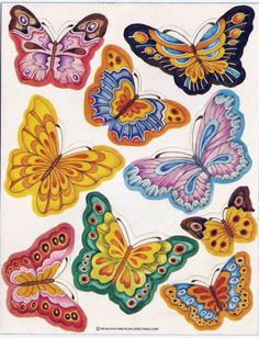 Stickers Vintage 1 sheets American Greetings 9 BUTTERFLIES 1982  A1-10 #AmericanGreetings #Stickers