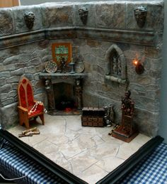 Dollhouse Miniature Castle Room Scene 1 Scale by Dollhousesbytracy