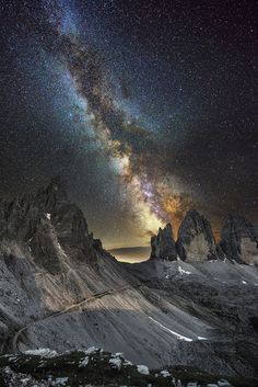 "wowtastic-nature: ""  Milky Way over Lavaredo on 500px by Luca Cruciani, Macerata, Italy ☀ NIKON D800-f/2.8-24s-14mm-iso3200, 1135✱1700px-rating:99.9 ◉ Photo location: Google Maps """