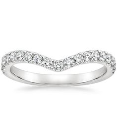 Shimmering scalloped pavé diamonds flow halfway down this band, creating a subtly curved chevron shape. Available in White Gold. Curved Wedding Band, White Gold Wedding Bands, Wedding Rings For Women, Platinum Wedding Rings, Diamond Wedding Rings, Diamond Rings, Wedding Anniversary Rings, Diamond Anniversary Rings, Chevron Ring