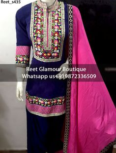 Mesmeric Voilet And Pink Machine Embroidered Punjabi Suit(Price:Rs.4500) on pure glace cotton with machine work To Order, Call/Whats app On +919872336509 We Offer Huge Variety Of Punjabi Suits, Anarkali Suits, Lehenga Choli, Bridal Suits,Sari, Gowns Etc .We Can Also Design Any Suit Of Your Own Design And Any Color Combination.
