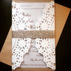 Handmade Lace, Doily, Burlap, Vellum, And Champagne Glitter Wedding Shower  Invitation.