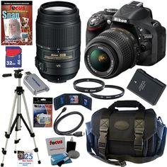 Amazon.com: Nikon D5200 24.1 MP CMOS Digital SLR Camera (Black) with 18-55mm f/3.5-5.6G AF-S DX VR and 55-300mm f/4.5-5.6G ED VR AF-S DX NIK...