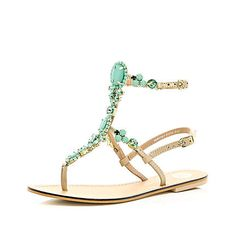 Turquoise gem stone high leg sandals 50,00 �