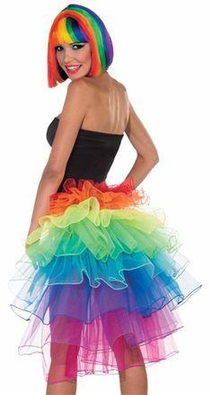 Pride Rainbow TuTu Gay LGBT Festival Dance Fancy Dress Multi Coloured RaRa