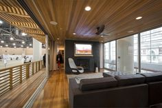 Modern Modular Prefab Cabin House   Greenbuild   Philadelphia   Living Room Cedar Ceiling Fireplace Black Steel Railing Deck Sliding Doors   RES4