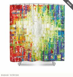 shower curtain art multi color rainbow happy uplifting joy colorful abstract