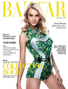 Jess Stam looking gorgeous on the cover of Harper's Bazaar Korea