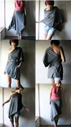 Multifunctional dress - top - skirt in dark grey cotton jersey - 10 ways to… Convertible Clothing, Convertible Dress, Diy Dress, Boho Dress, Beach Bridesmaid Dresses, Diy Clothes Videos, Couture, Infinity Dress, Costume Collection