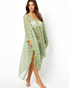 Asos Scribble Heart Print Cold Shoulder Beach Cover Up on shopstyle.com