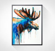 Moose watercolor painting print , animal watercolor, animal painting, animal…