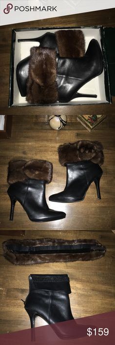 ❄️RALPH LAUREN❄️REAL FUR & LEATHER BOOTIES Another pair designed by me😊 This pair of Ralph Lauren booties I enhanced with a genuine fur collar. (I think the fur is mink but I'm not certain) Attached by Velcro and a clip attachment. Excellent condition. Worn one time only. Offers welcome😊 Ralph Lauren Shoes Ankle Boots & Booties