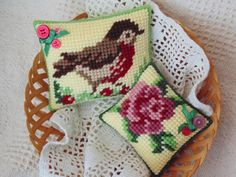 Bird and Rose Mini Pillows, Vintage Style Needlepoint, Home Decor, Retro Vintage Decorative Pillows, Spring Decor by BunniesMadeOfBread on Etsy