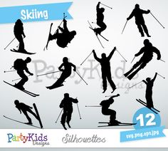 Skiing Silhouette, instant download, PNG, JPG, SVG, eps files Ps-289